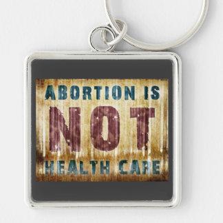 El aborto no es atención sanitaria llavero cuadrado plateado