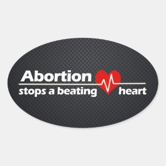 El aborto para un corazón de derrota antiabortist colcomanias ovaladas personalizadas