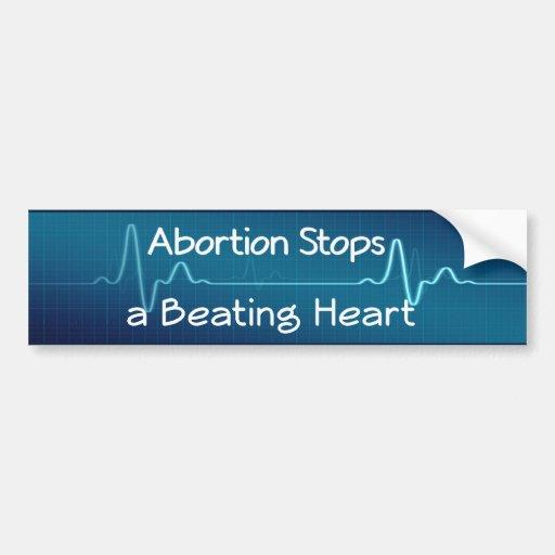 El aborto para un corazón de derrota pegatina de parachoque