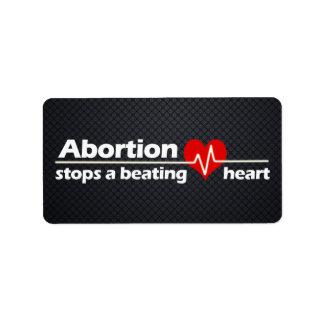 El aborto para un corazón de derrota, etiquetas de dirección