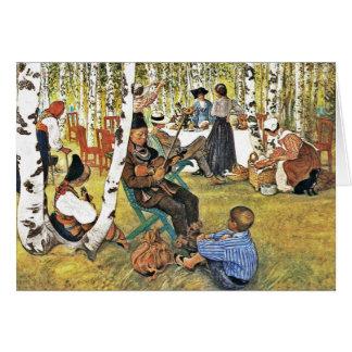 El abuelo juega el violín de Hardanger Tarjeta De Felicitación
