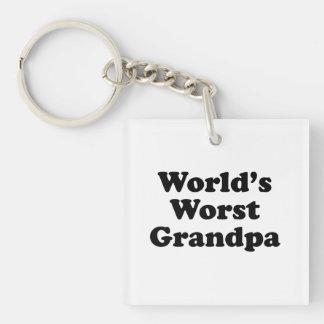 El abuelo peor del mundo llavero cuadrado acrílico a una cara