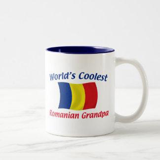 El abuelo rumano más fresco taza de café de dos colores