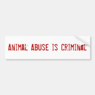 El abuso animal es criminal pegatina de parachoque