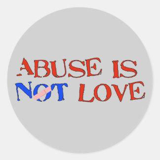El abuso no es amor pegatina redonda