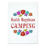 El acampar de la felicidad de la salud invitación 12,7 x 17,8 cm