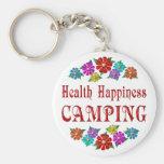 El acampar de la felicidad de la salud llaveros