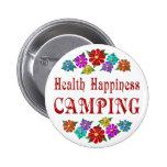 El acampar de la felicidad de la salud pins