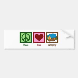 El acampar del amor de la paz pegatina de parachoque