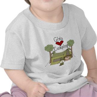 El acampar del amor de los chicas camiseta