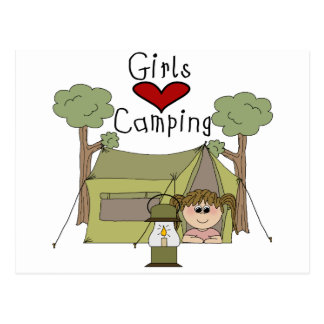 El acampar del amor de los chicas postal
