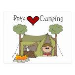 El acampar del amor de los muchachos tarjetas postales