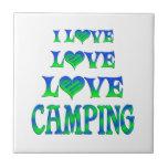 El acampar del amor del amor azulejos