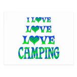 El acampar del amor del amor tarjeta postal