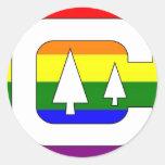 El acampar del orgullo de GLBT Pegatina Redonda
