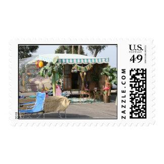 El acampar del remolque del vintage sellos