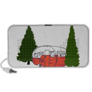 El acampar del vintage laptop altavoz