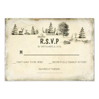"""El acampar en las maderas que casan las tarjetas invitación 3.5"""" x 5"""""""