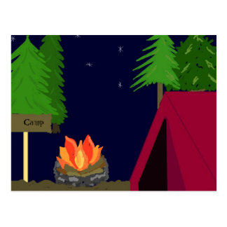 El acampar en una tienda tarjeta postal