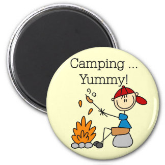 El acampar es camisetas y regalos deliciosos imanes de nevera