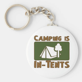 El acampar es intentos llavero redondo tipo pin