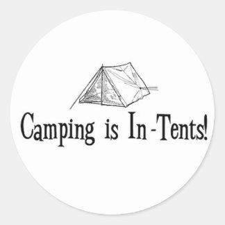 """El acampar es """"intentos """" pegatina redonda"""