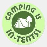 el acampar es intentos pegatina redonda