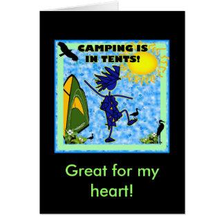 El acampar está en diseño de las tiendas tarjeta de felicitación