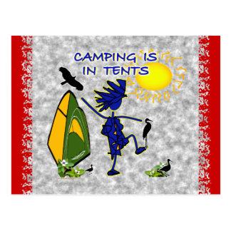 El acampar está intenso en tiendas postales