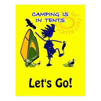El acampar está intenso en tiendas tarjeta postal
