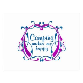El acampar feliz postal