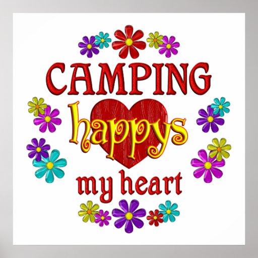 El acampar feliz póster