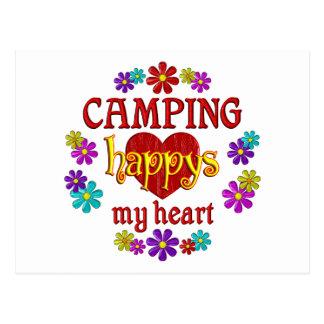 El acampar feliz tarjeta postal