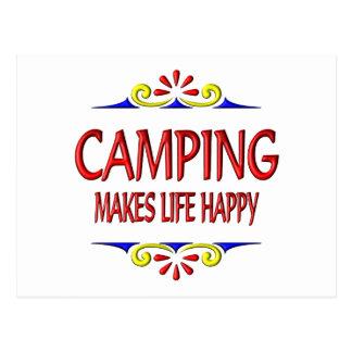 El acampar hace vida feliz postal