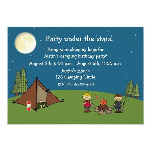 El acampar hacia fuera fiesta invitación 12,7 x 17,8 cm