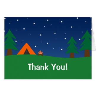 El acampar le agradece tarjeta pequeña