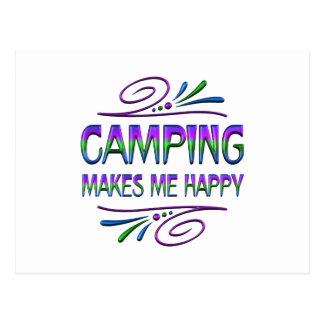 El acampar me hace feliz tarjetas postales