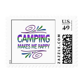El acampar me hace feliz timbres postales