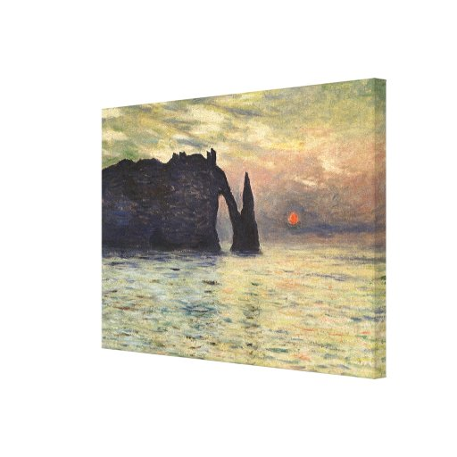 El acantilado Etretat, puesta del sol de Claude Impresión En Lienzo