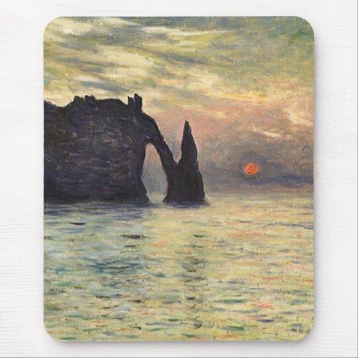 El acantilado, Etretat, puesta del sol de Claude Mousepads