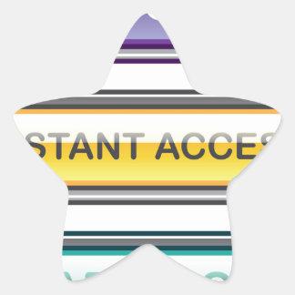 El acceso inmediato en línea comercial aprende más pegatina en forma de estrella
