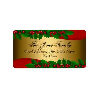 El acebo del navidad sale de etiquetas de etiquetas de dirección
