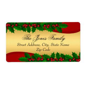 El acebo del oro del navidad sale de etiquetas de etiqueta de envío