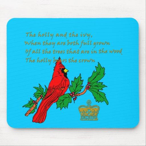 El acebo y la hiedra con el cardenal y la corona tapete de raton