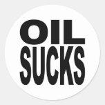 El aceite chupa pegatina redonda