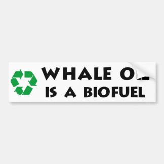 El aceite de ballena es un combustible biológico pegatina para auto