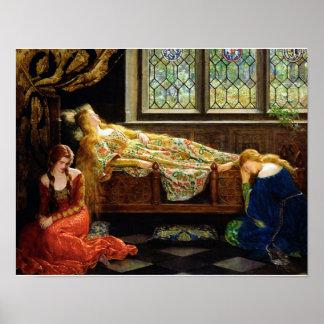 El aceite de la bella durmiente en la pintura de l póster
