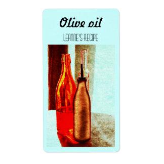 El aceite de oliva embotella la etiqueta inmóvil d etiqueta de envío