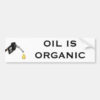 El aceite es orgánico etiqueta de parachoque