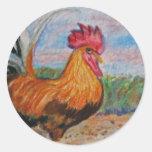 El aceo de la acuarela del arte del animal del pegatina redonda